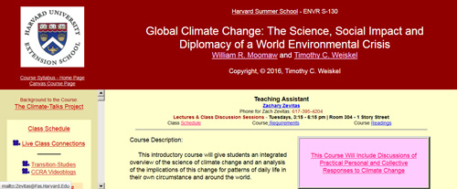 Harvard Extension School – Global Climate Change (online
