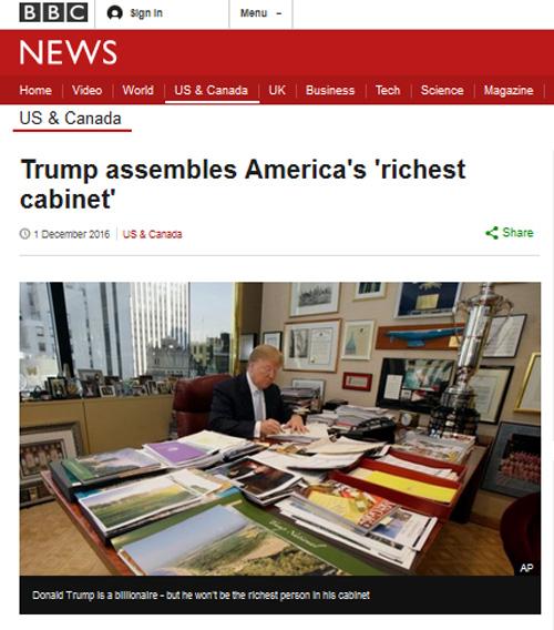Trump assembles America's 'richest cabinet' – BBC News ...