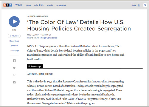 The Color Of Law Details How U S Housing Policies Created